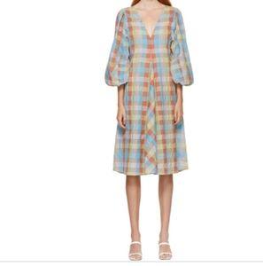 Ganni Seersucker Midi Dress
